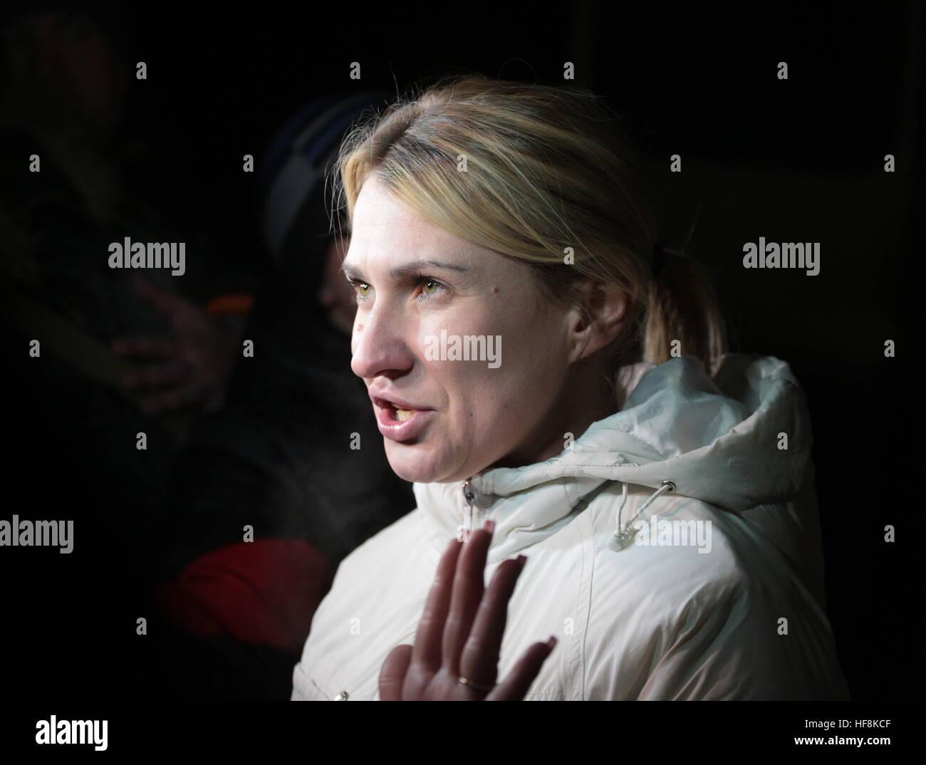 HORLIVKA, UKRAINE - DECEMBER 29, 2016: DPR commissioner for human rights Darya Morozova seen while the Ukrainian Stock Photo