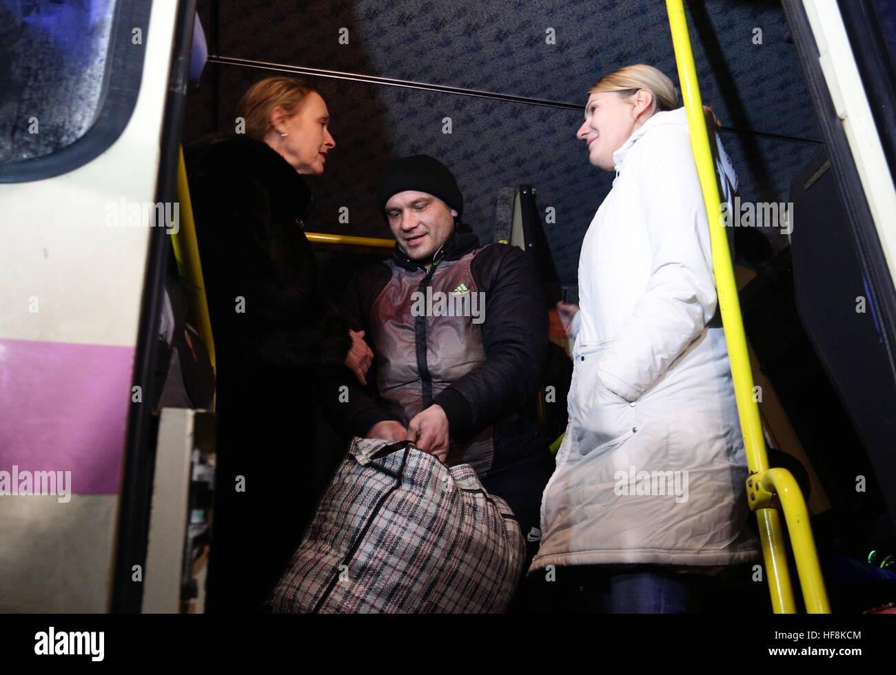 HORLIVKA, UKRAINE - DECEMBER 29, 2016: Olga Kobtseva (L), head of the working group on the exchange of prisoners Stock Photo