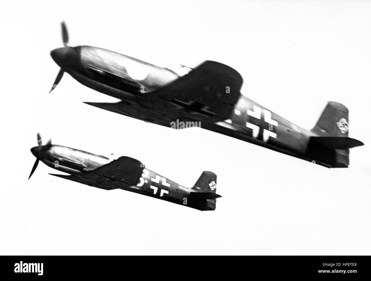 The Nazi propaganda image shows German Wehrmacht Heinkel He 100 fighter planes out on a sortie. Published in February Stock Photo