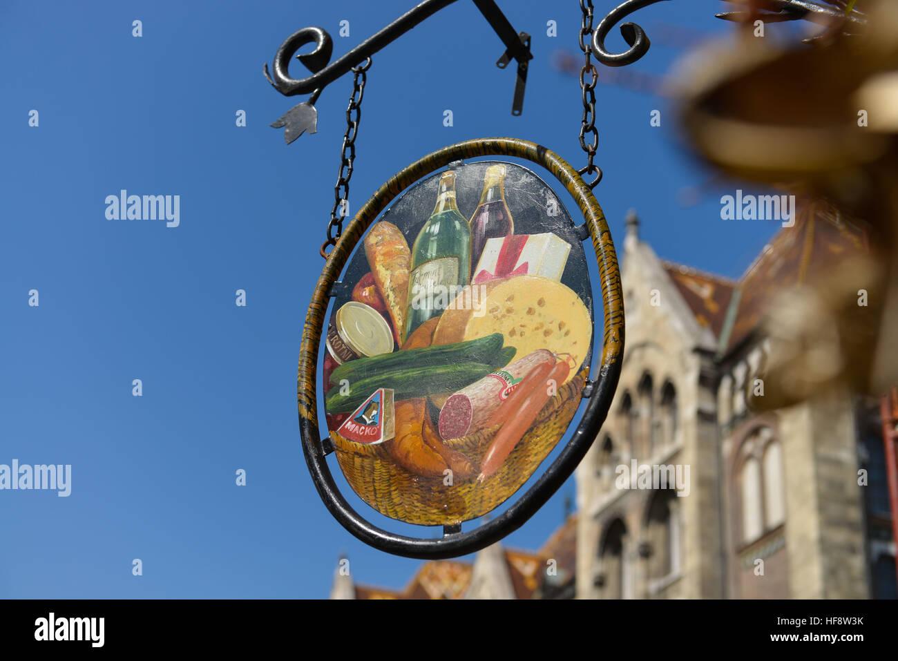 Aushaengeschild Restaurant, Burgberg, Budapest, Ungarn, Signboard restaurant, castle mountain, Hungarian - Stock Image
