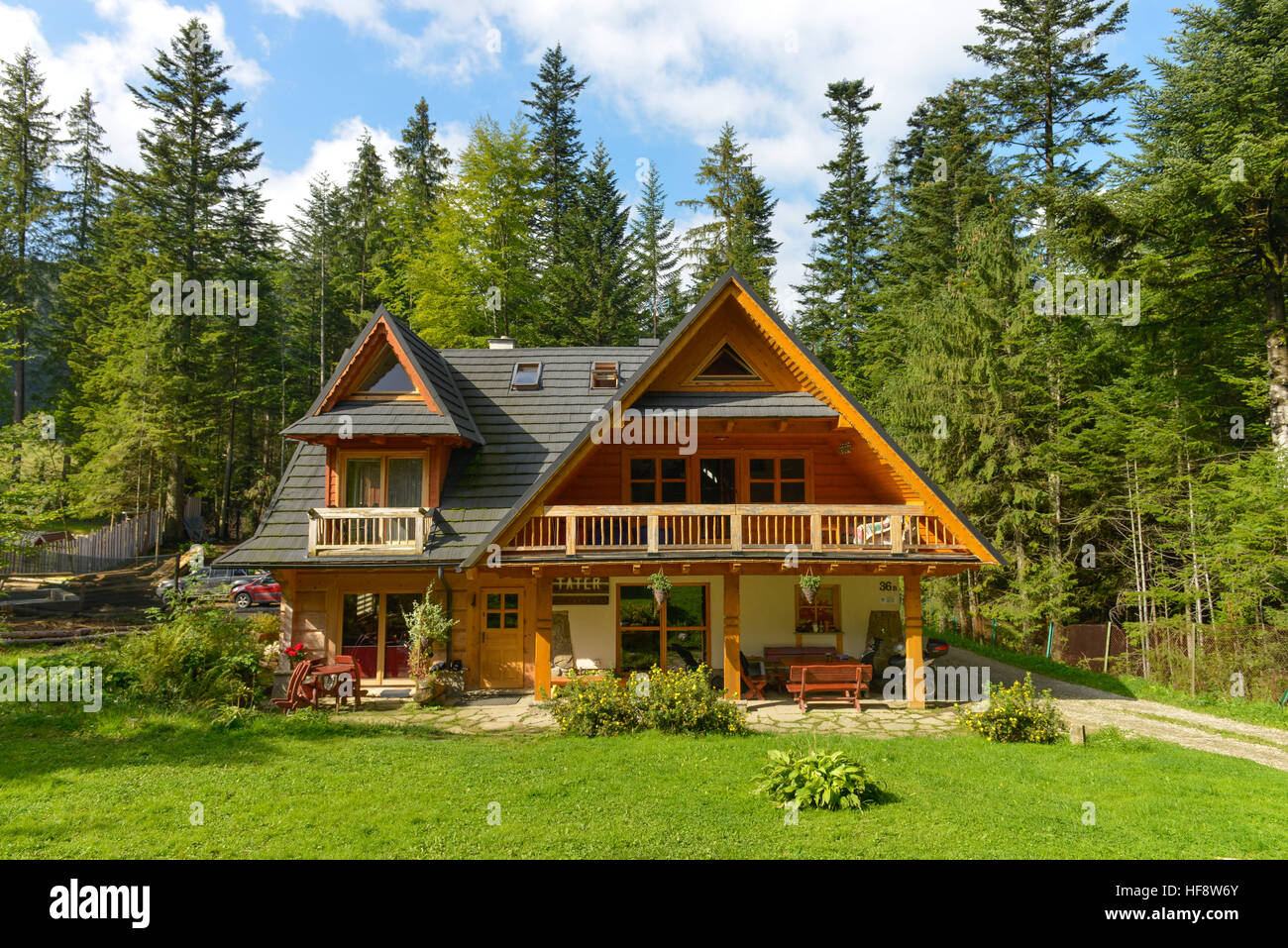 Ferienwohnungen, Holzhaus, Zakopane, Polen, Holiday apartments, timber house, Poland - Stock Image