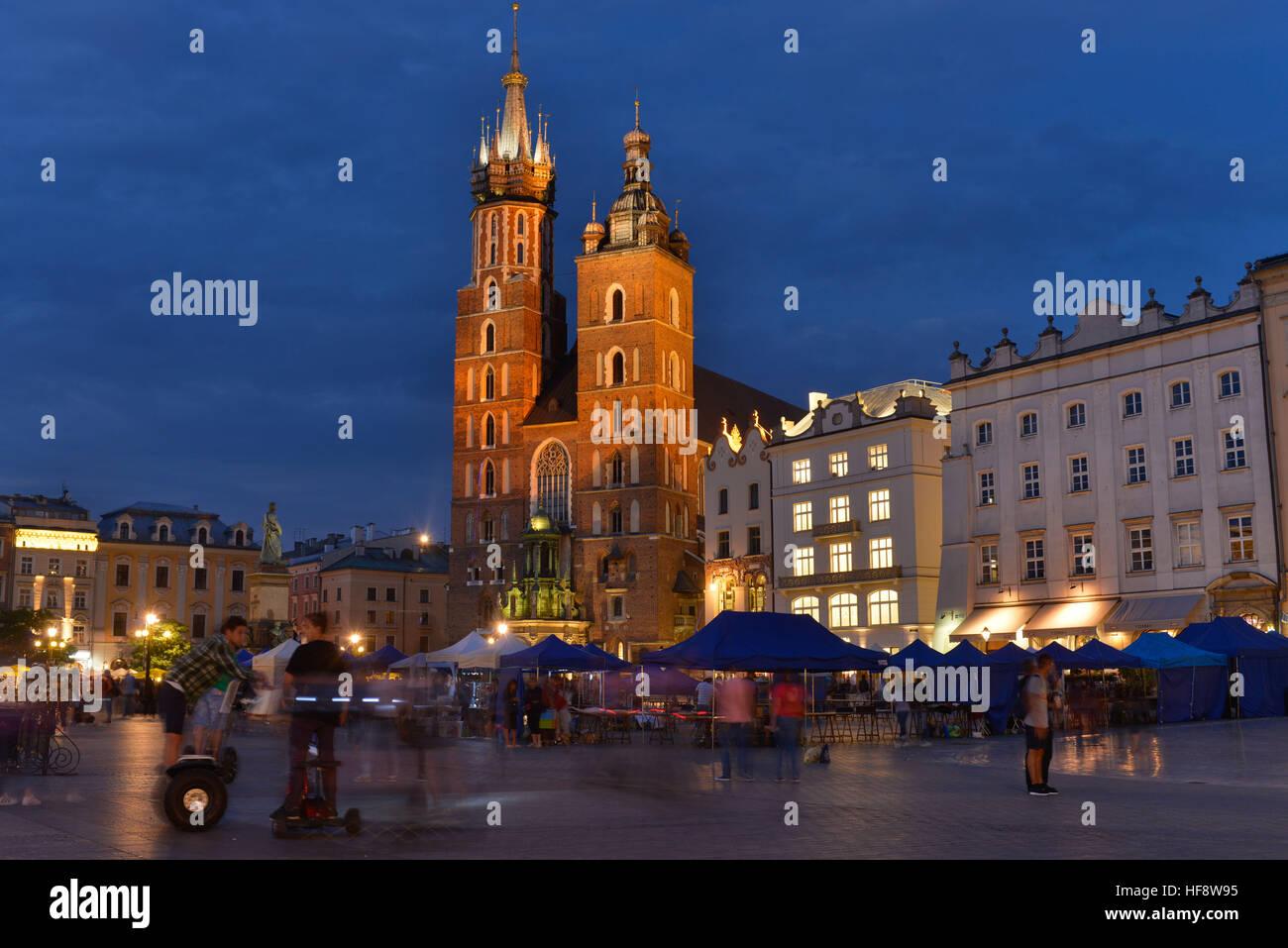 Marienkirche, Hauptmarkt, Krakau, Polen, Marien's church, central market, Cracow, Pole - Stock Image