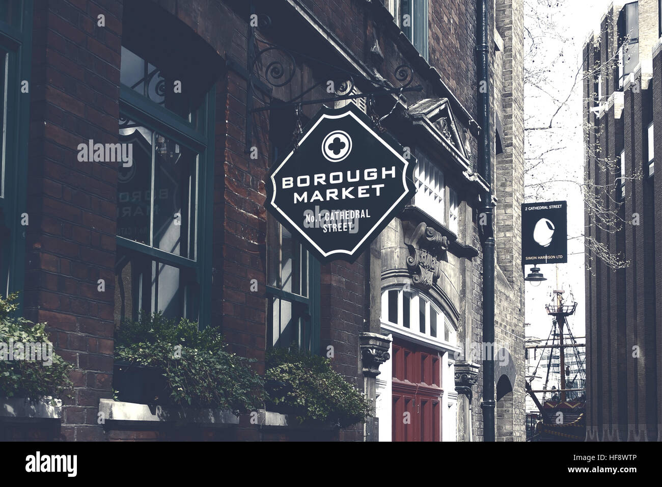 London,Uk - April 15, 2016: Borough Market sign. It is one of the largest and oldest food markets in London. - Stock Image