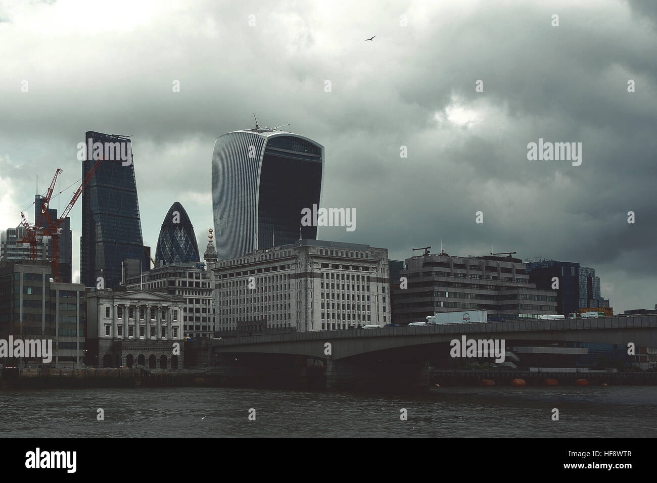 London,Uk - April 15, 2016: London's panorama on City office buildings, the leading banking, investments and - Stock Image