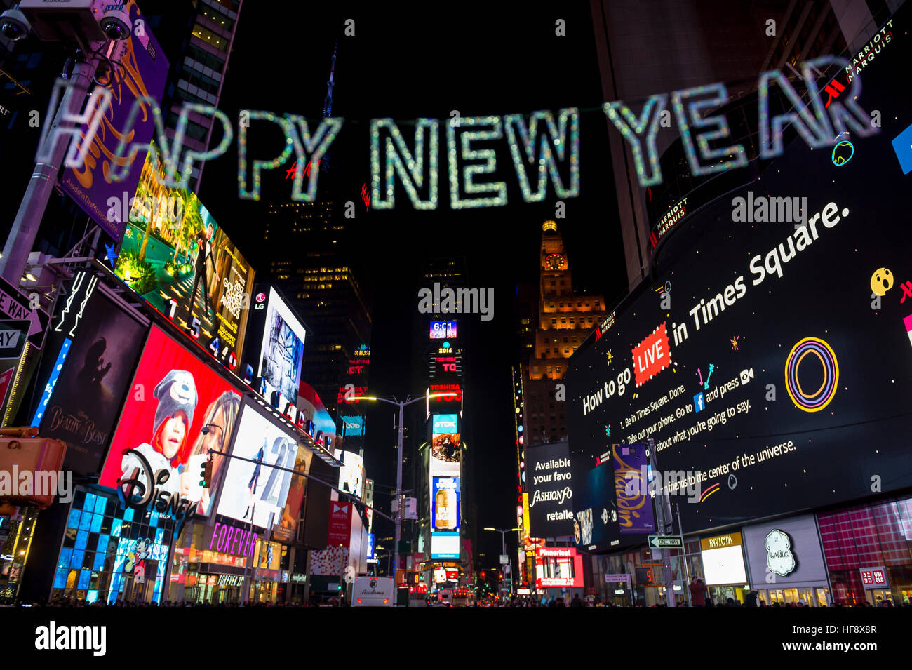 new york city december 23 2016 happy new year sign hangs in times square as the city prepares for new years eve
