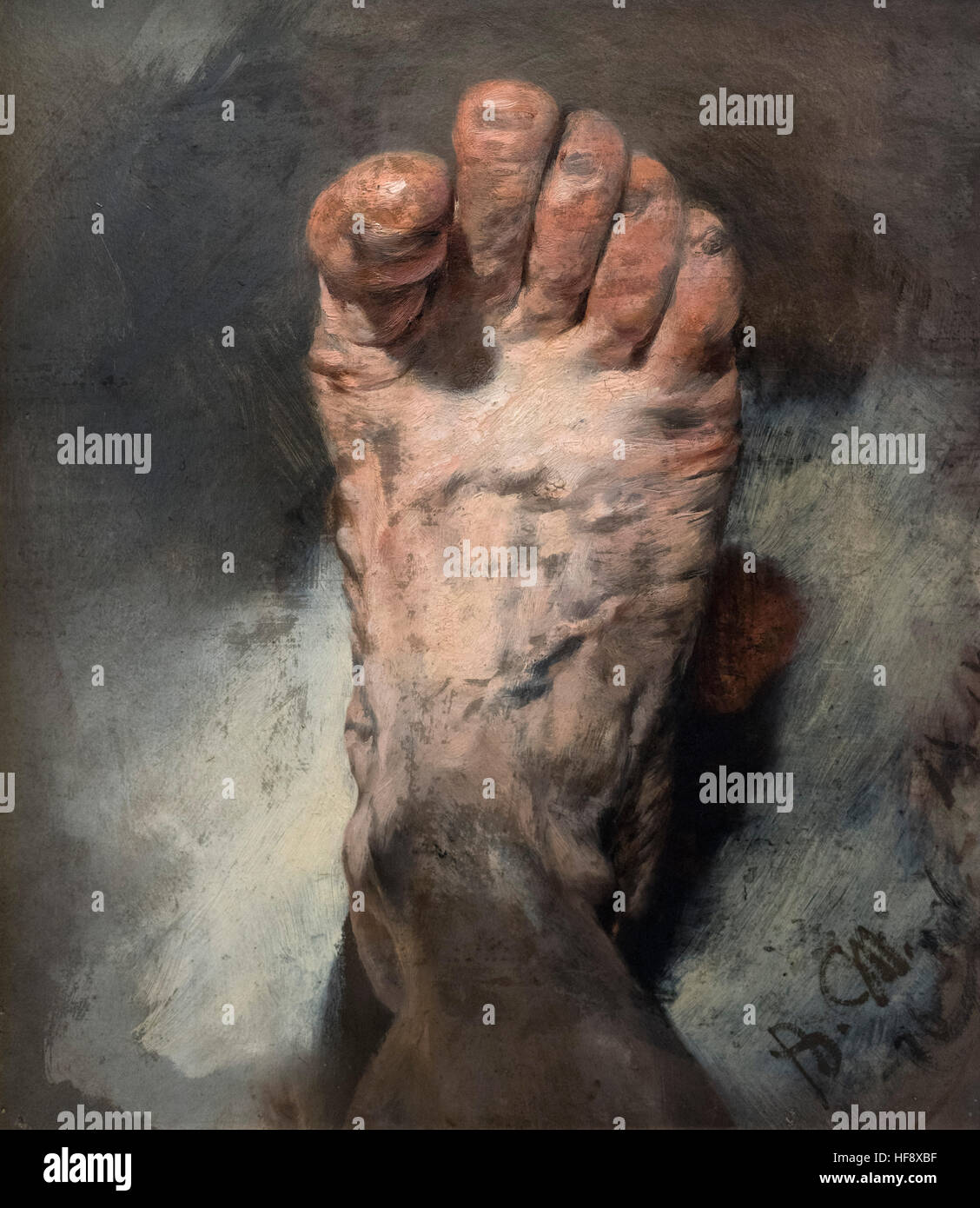 Adolph Menzel (1815-1905), The Foot of the Artist, 1876. Der Fuß des Künstlers. - Stock Image
