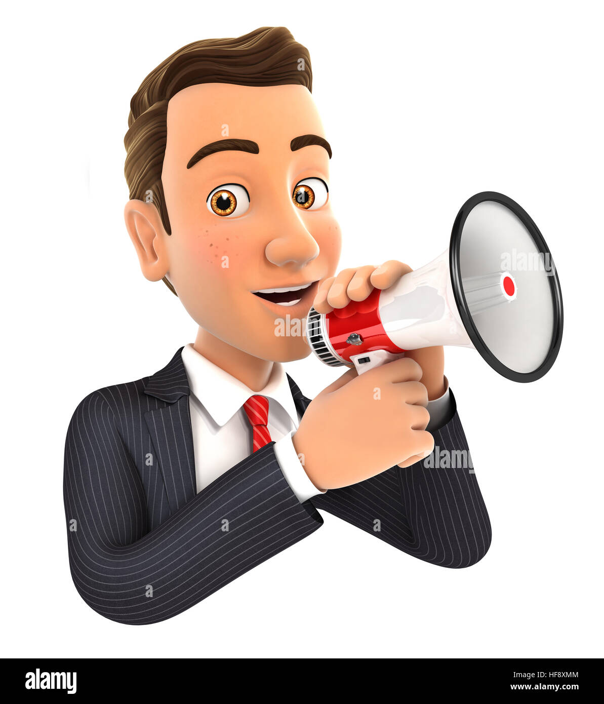 3d businessman talking into megaphone, illustration with isolated white background Stock Photo