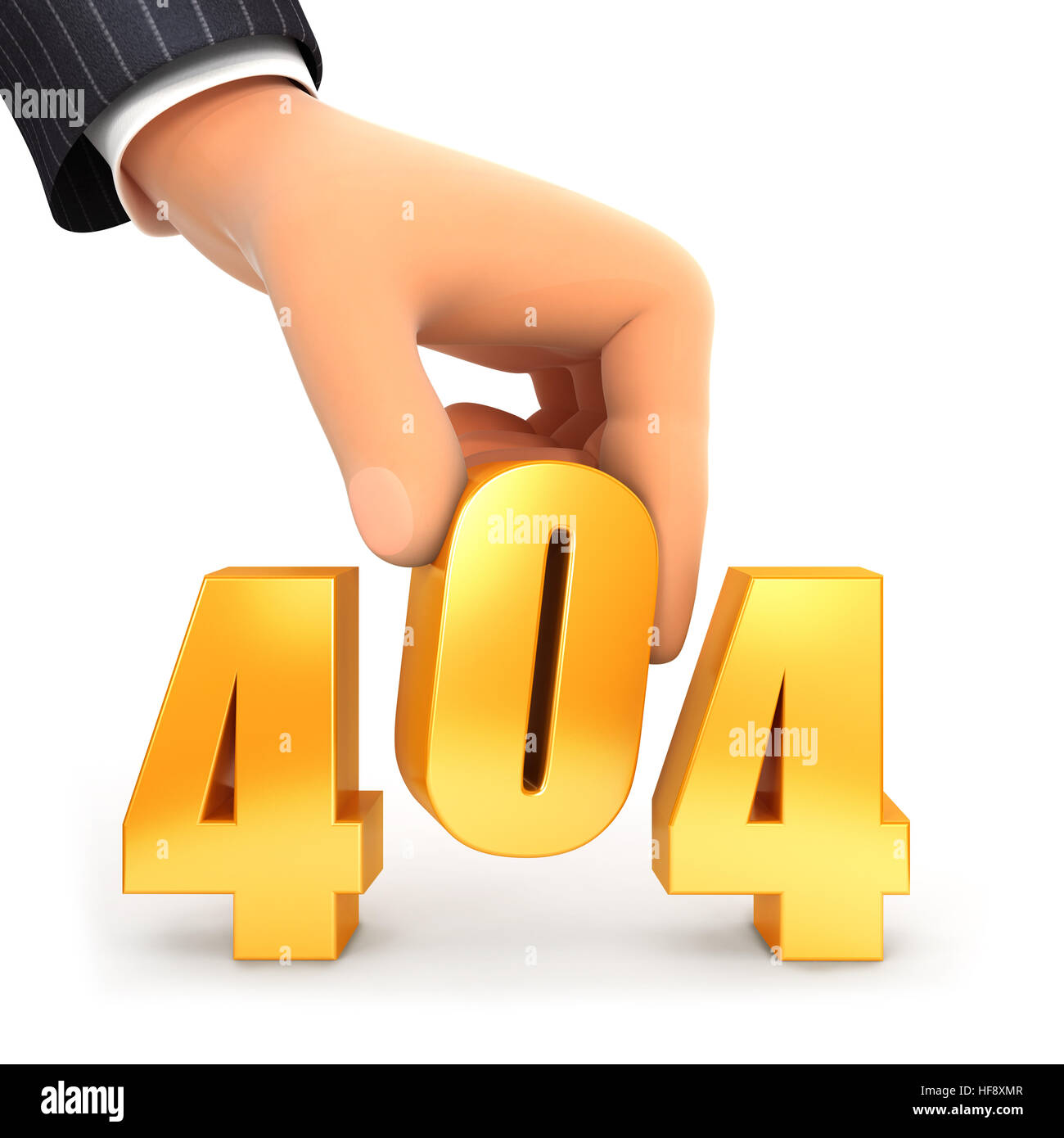 3d hand and error 404 concept, illustration with isolated white background Stock Photo