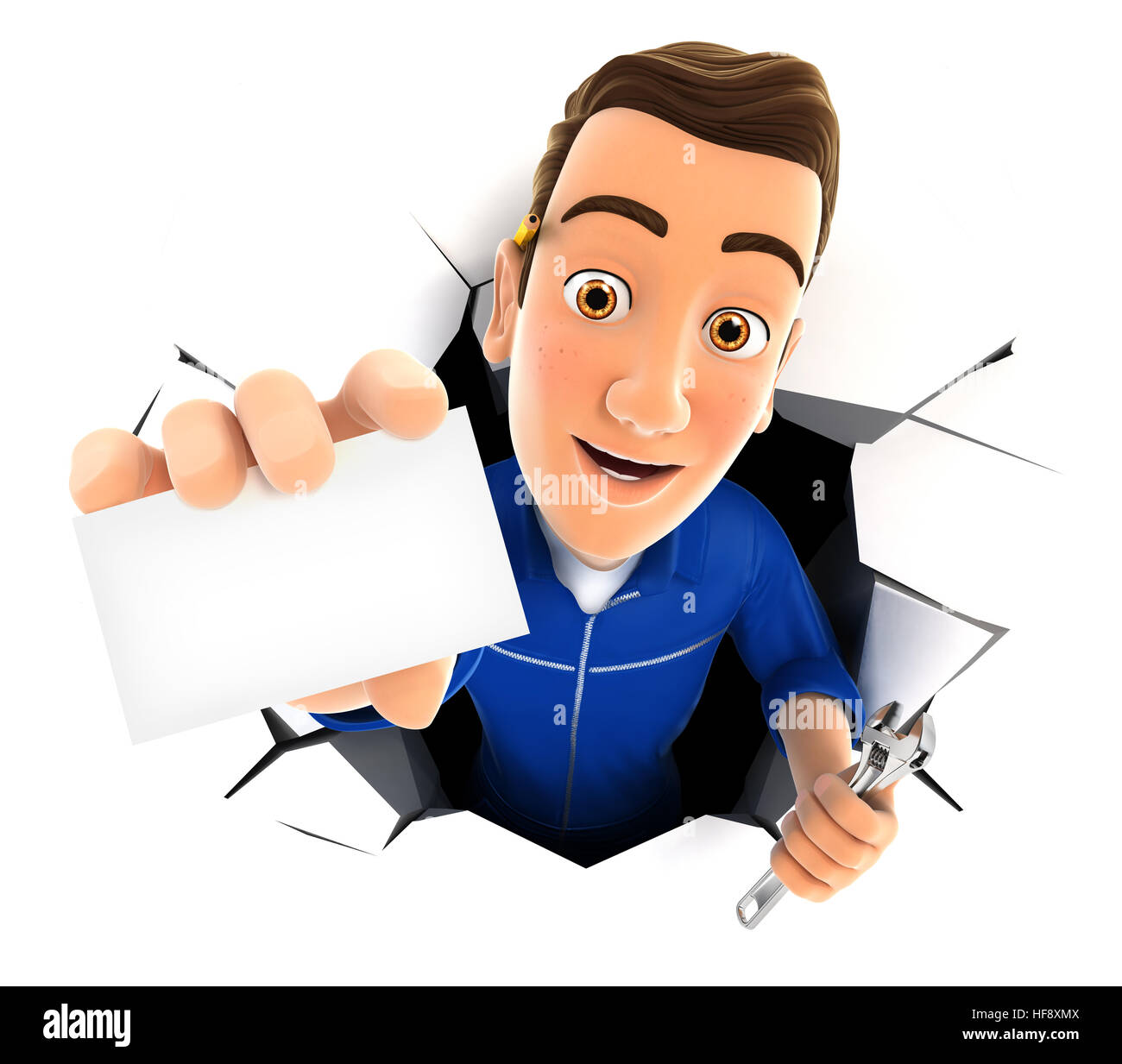 3d mechanic coming out through a wall with company card, illustration with isolated white background Stock Photo