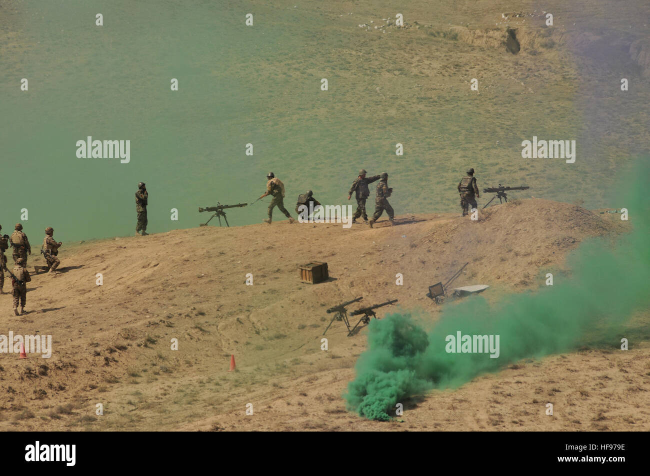 Darulaman, Afghanistan (September 2, 2010) – With colored smoke simulating the fog of war, Afghan National Army - Stock Image