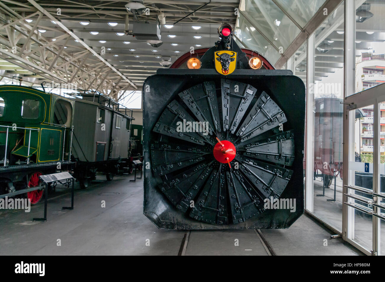 Front view of the Xrot m No 100, a steam-powered rotary snowplow built in 1896 by Henschel. Swiss Museum of Transport, - Stock Image