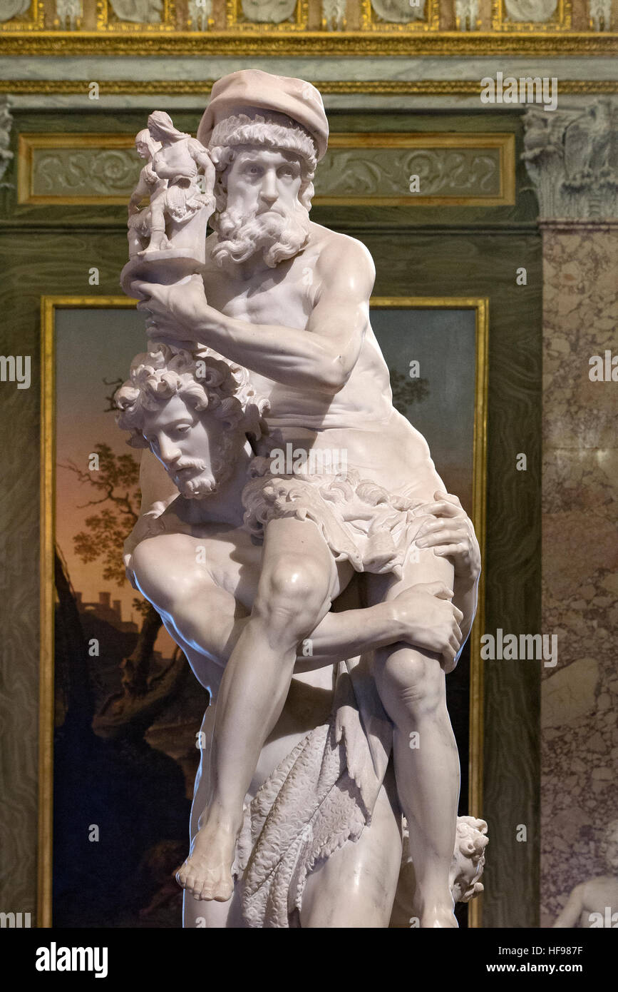 Aeneas, Anchises, and Ascanius by Gian Lorenzo Bernini Villa Borghese gallery Rome Italy - Stock Image