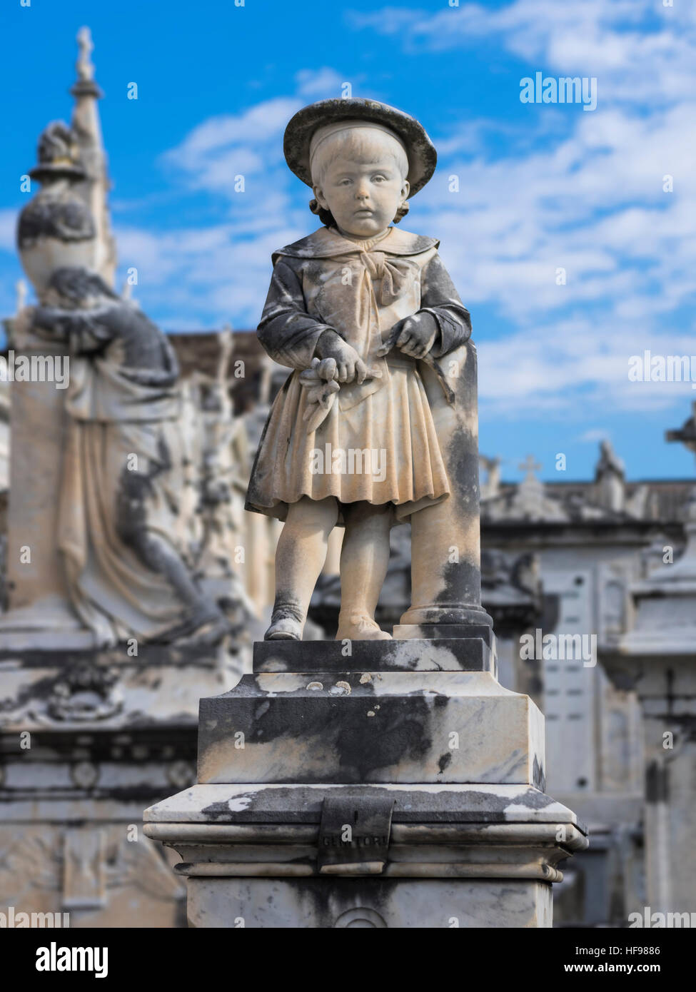 Marble statue on a 19th century child's grave on the cemetery of Lavagna, Liguria, Italy, - Stock Image