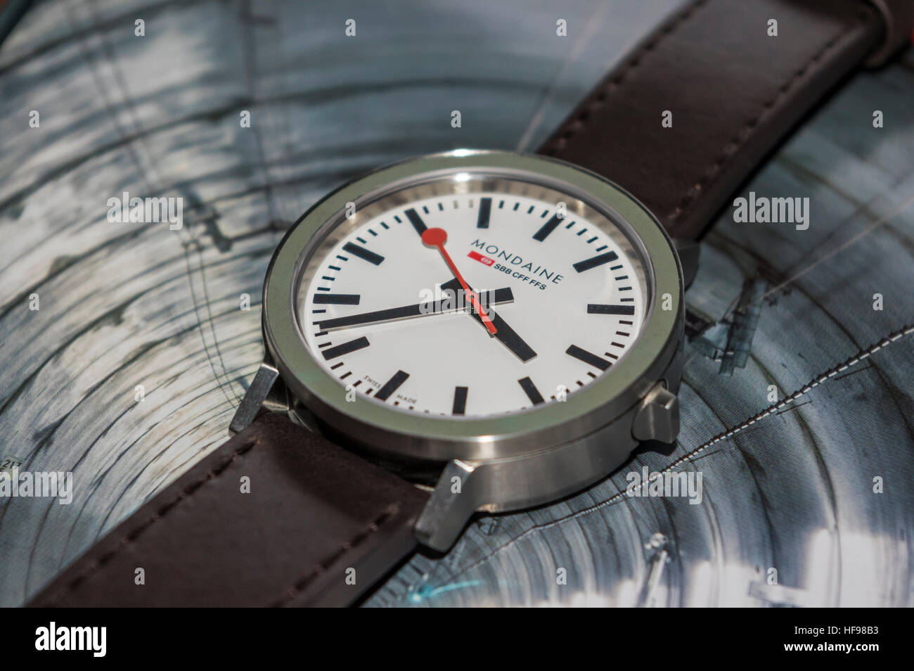Mondaine stop2go, the Official Swiss Railways Watch. Gottardo 2016 edition, commemorating the Gotthard base tunnel - Stock Image