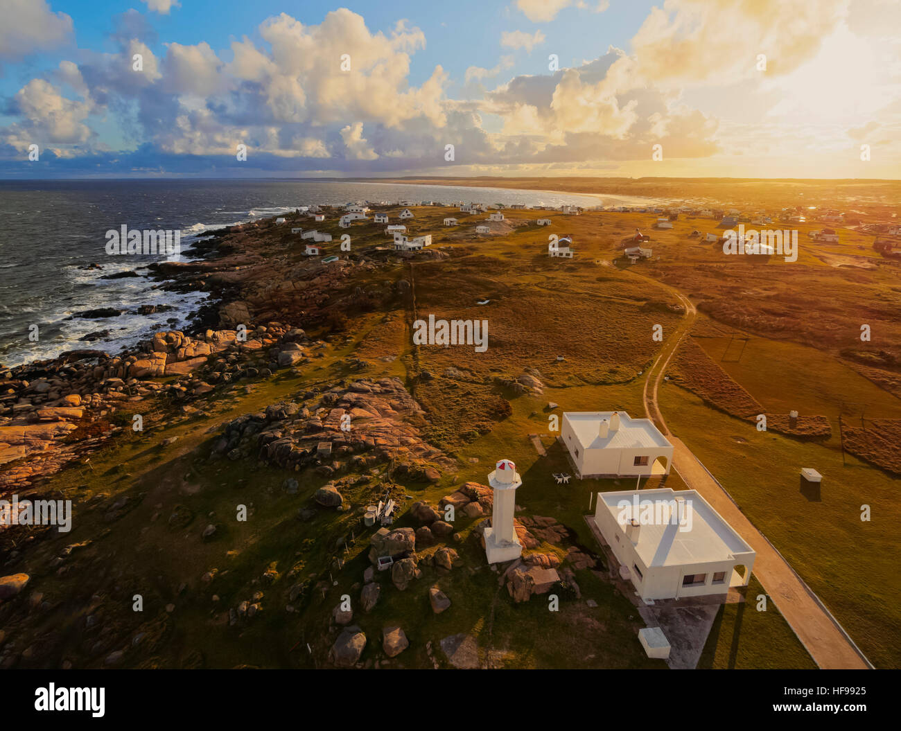 View of Cabo Polonio at sunset, Rocha Department, Uruguay - Stock Image