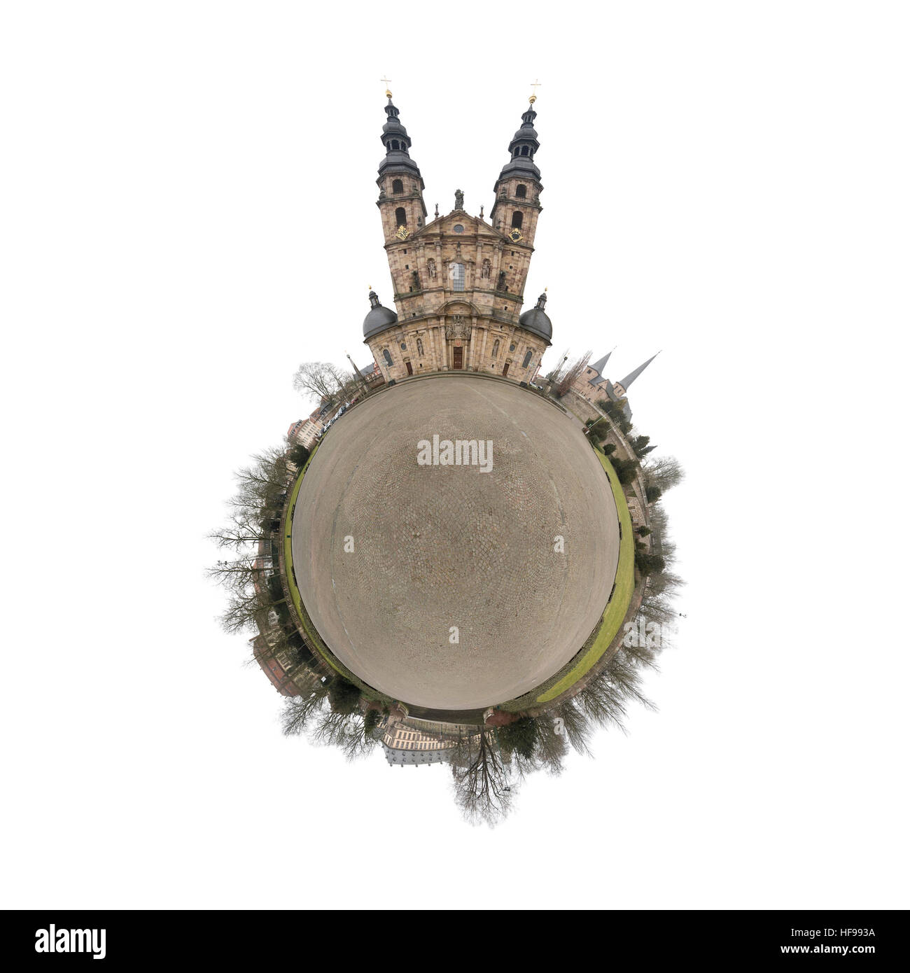 Cathedral in Fulda, panoramic picture, small planet, 360 degrees, Hesse, Germany, Europa - Stock Image
