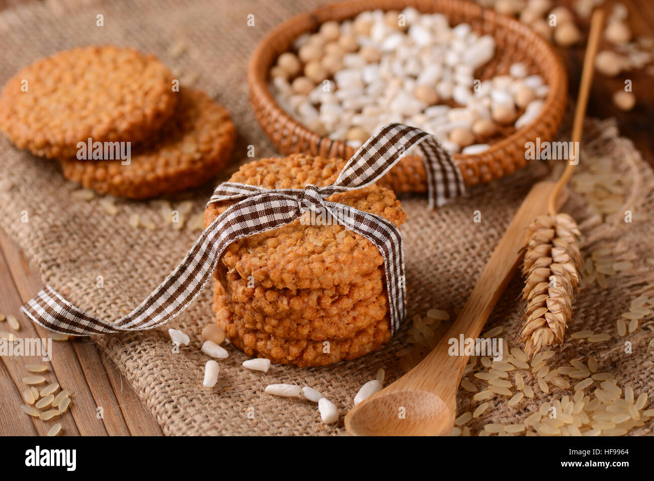 biscuits on cereal and rice homemade - Stock Image