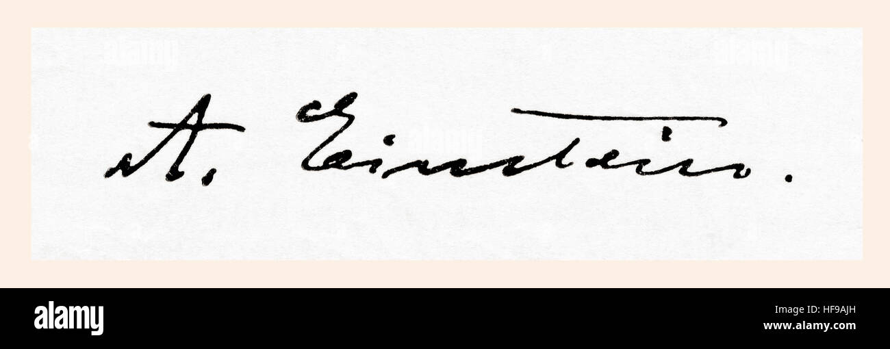 Signature of Albert Einstein, 1879 –  1955.  German-born theoretical physicist.  From Meyers Lexicon, published - Stock Image