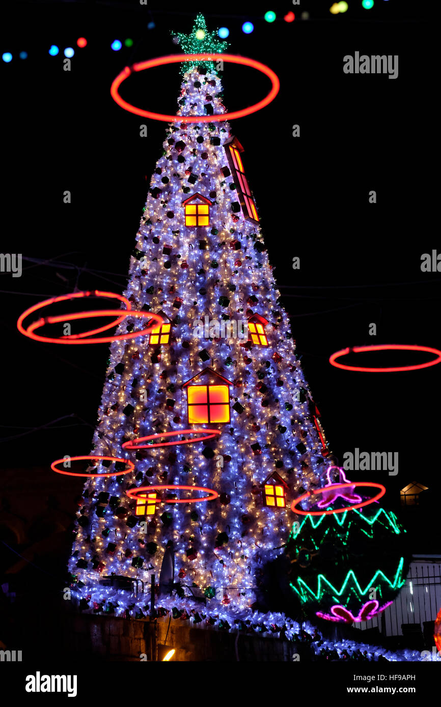 christmas decorations along bab el gadid street near the new gate in the christian quarter old city east jerusalem