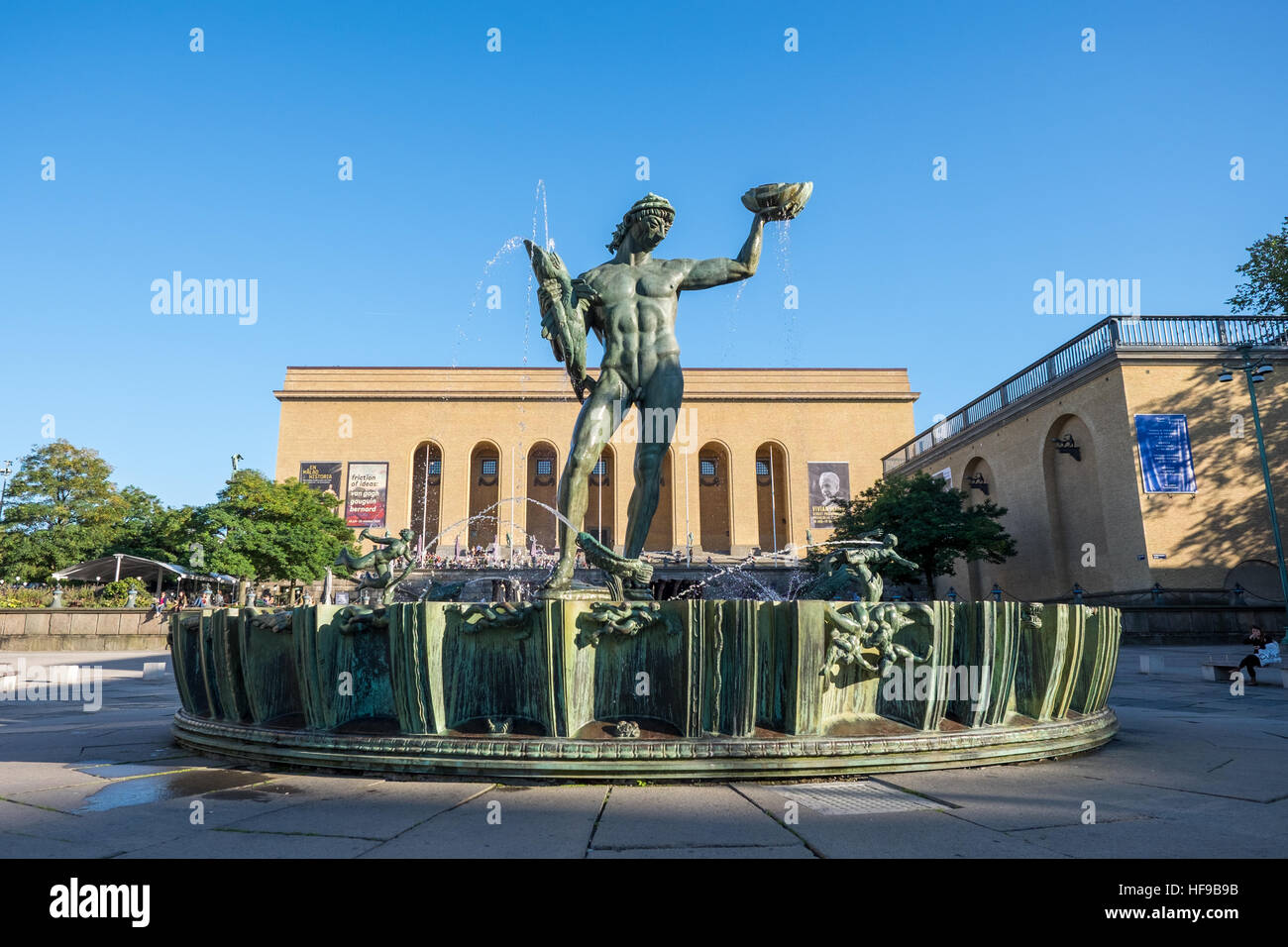 The iconic statue of Poseidon at Gotaplatsen in Gothenburg, Sweden - Stock Image