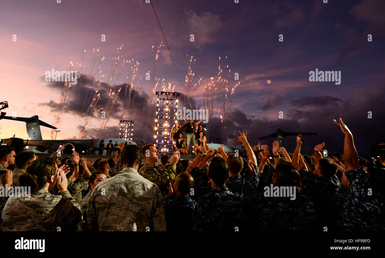 Singer Flo Rida performs on stage during the filming of the Rock the Troops concert hosted by Dwayne, The Rock, - Stock Image