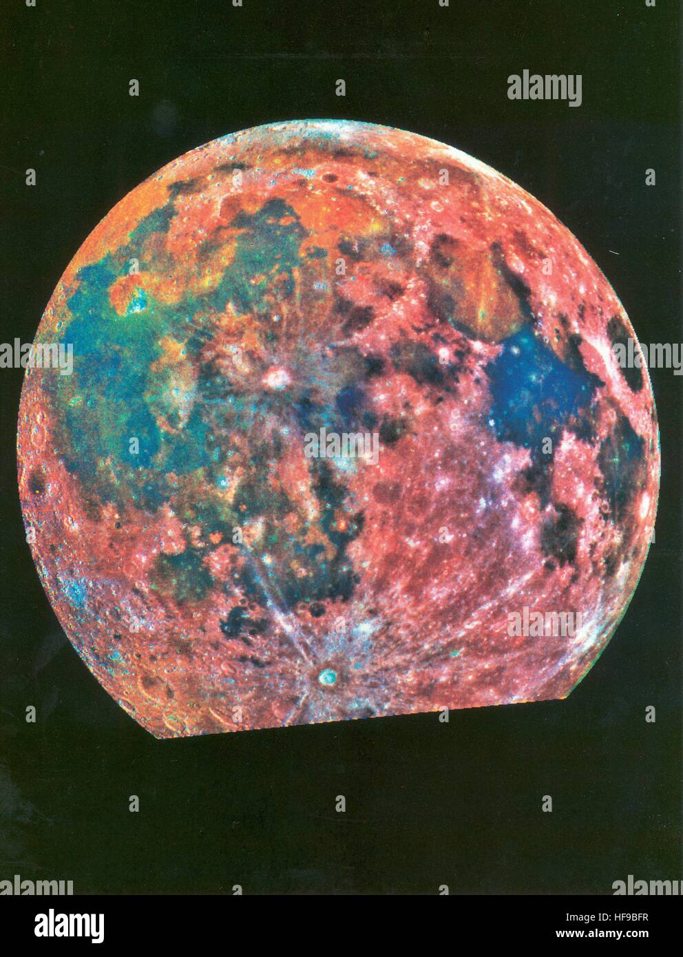 A false-color photograph of the Moon made from a composite of 15 photographs taken from three color filters by the - Stock Image