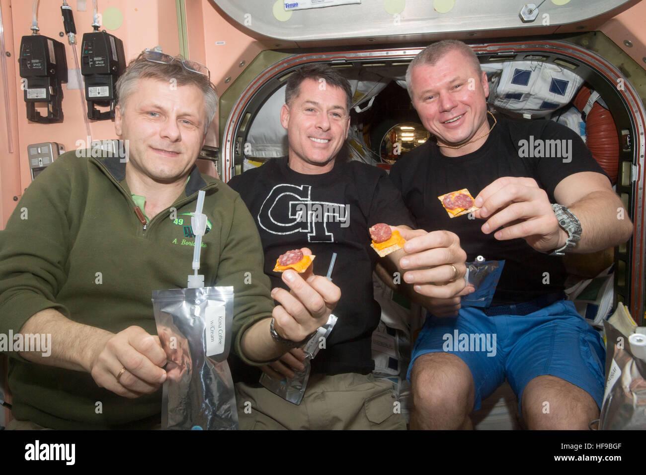 NASA Expedition 50 prime crew members (L-R) Russian cosmonaut Andrey Borisenko of Roscosmos, American astronaut - Stock Image