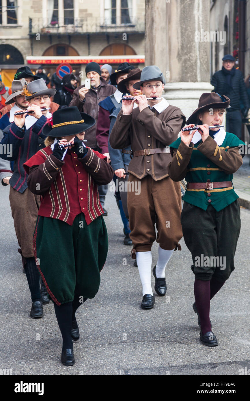 Members of a pipe band marching during Escalade in Geneva Stock Photo