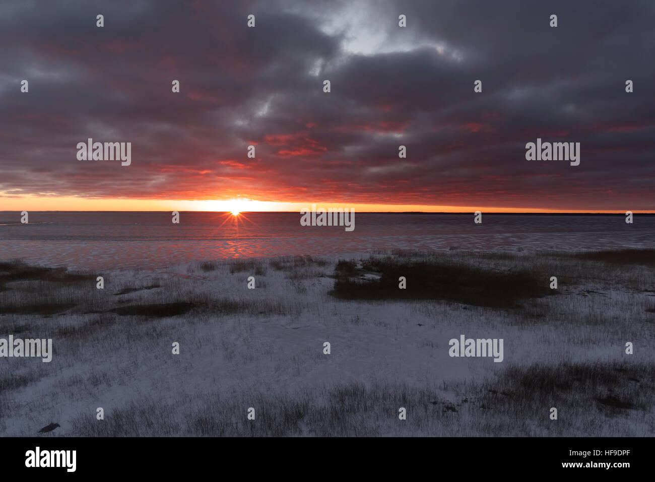 Evening Landscape, Lake Võrtsjärv, Estonia 28.12.2016 - Stock Image