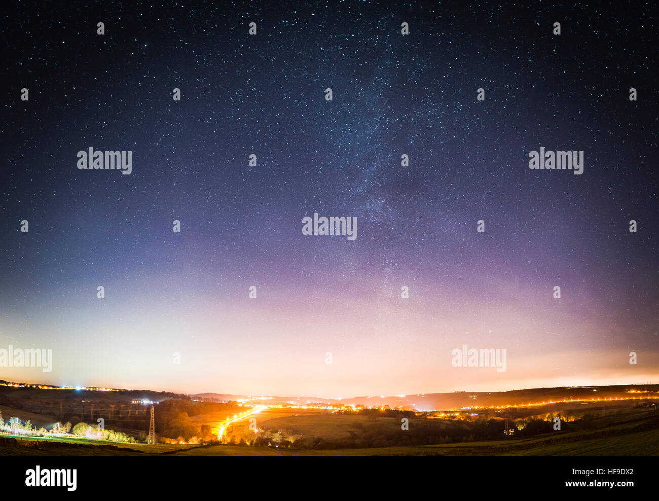 Stunning astrophotography in the skies of West Yorkshire, England, with a feint glimpse of the incredible Milky - Stock Image