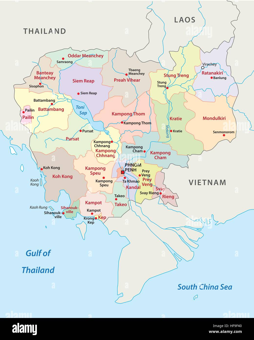 cambodia administrative and political map - Stock Image