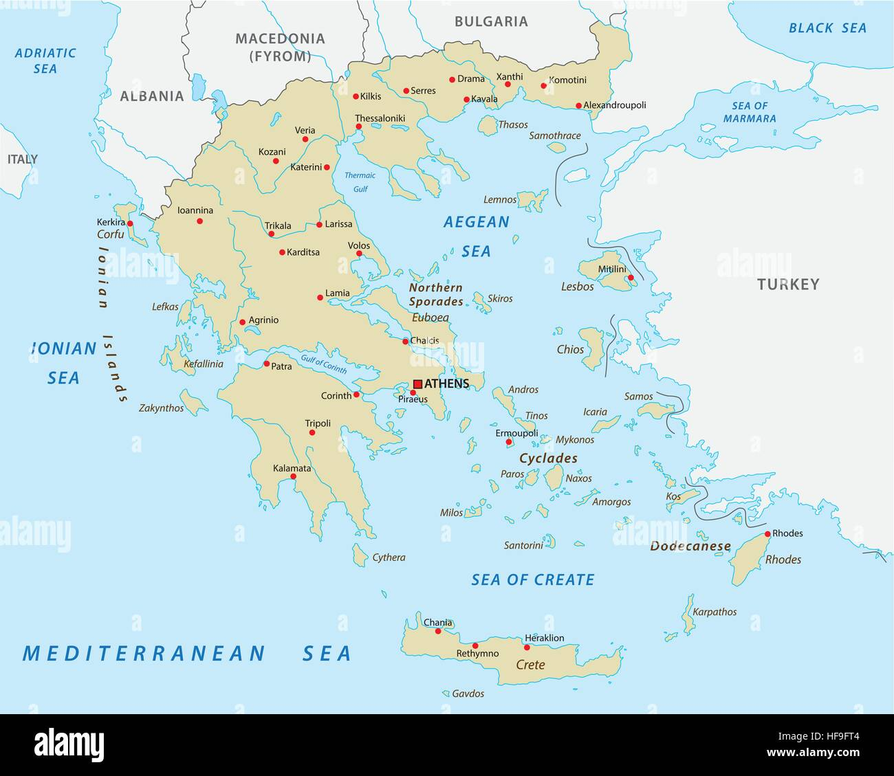 Hellenic Republic Greece Abstract Vector Map Stock Vector Art