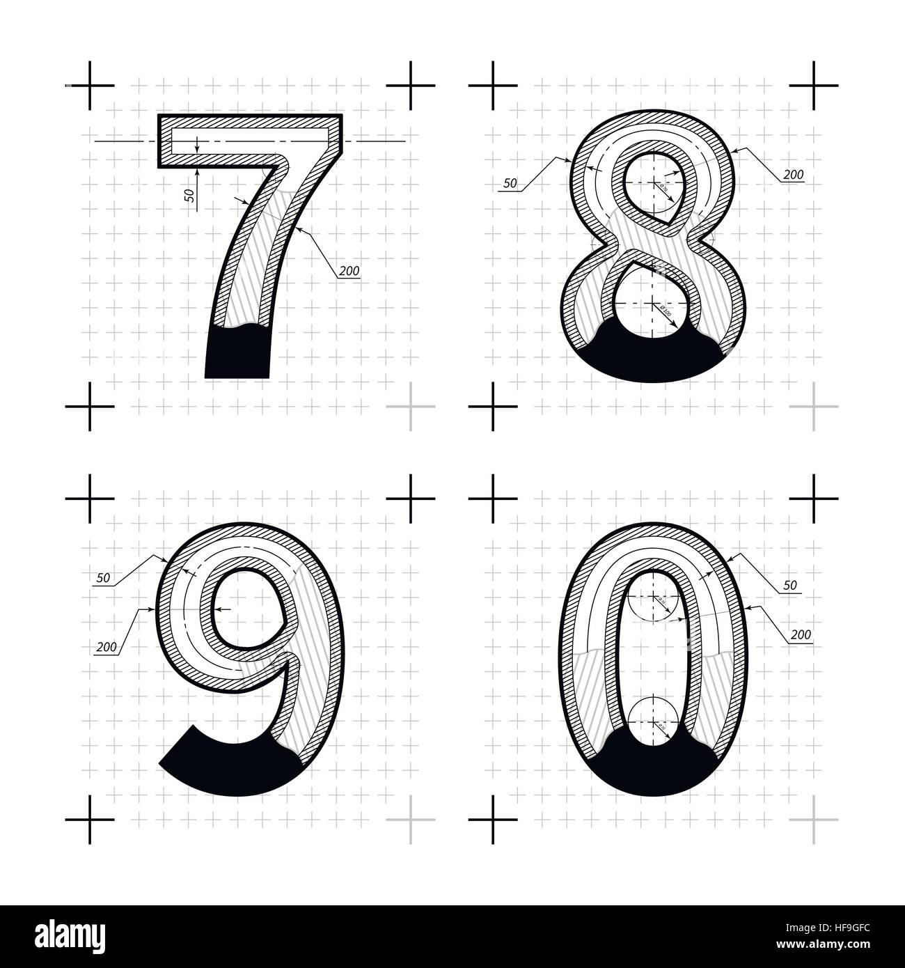 Architectural sketches of 7 8 9 0 letters blueprint style font on architectural sketches of 7 8 9 0 letters blueprint style font on stock vector art illustration vector image 129902960 alamy malvernweather Gallery