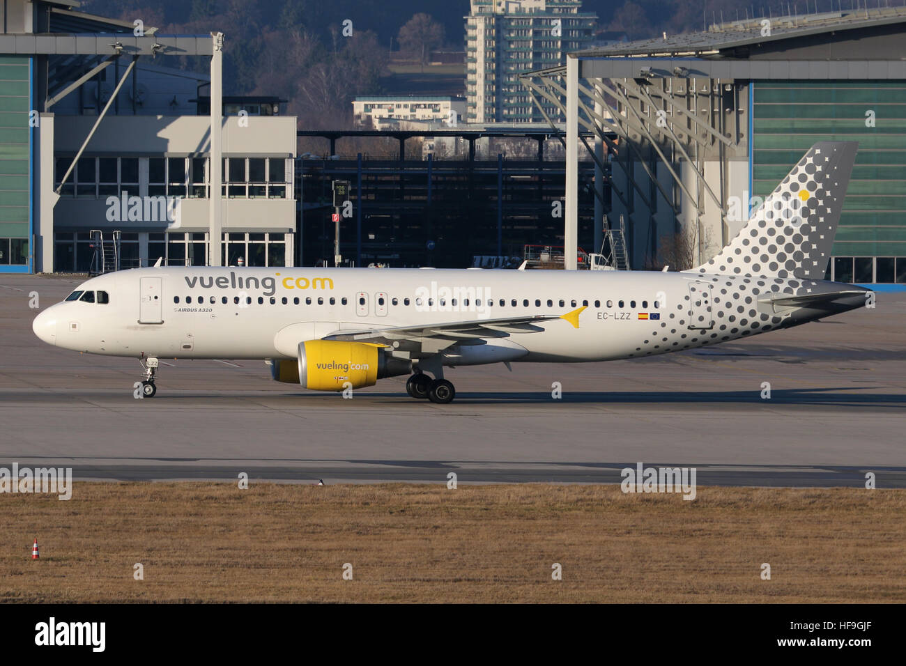Stuttgart, Germany – December 29, 2016: Vueling, Airbus A320 at Stuttgart Airport - Stock Image
