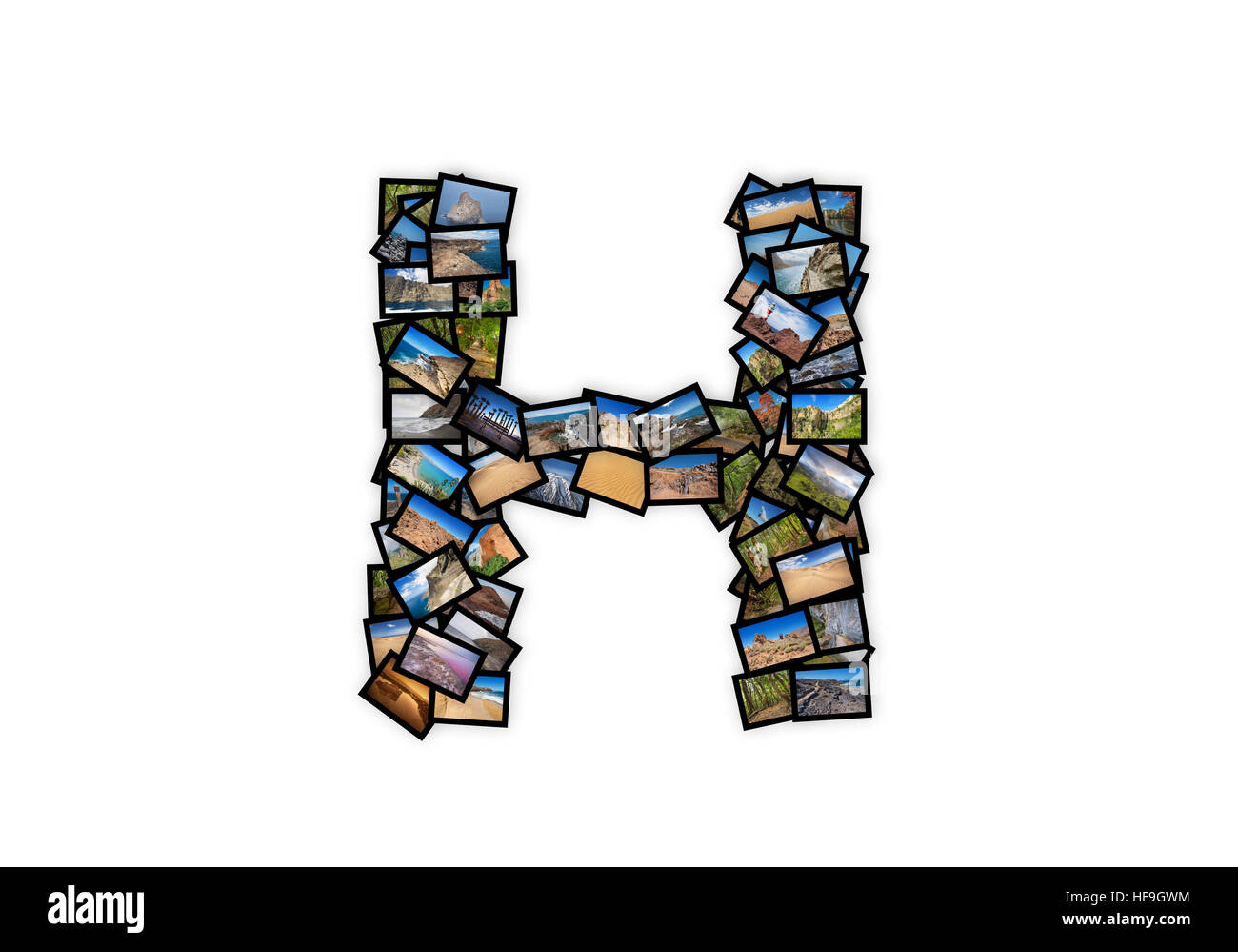 Letter H uppercase font shape alphabet collage made of my best landscape photographs. Version 2. - Stock Image