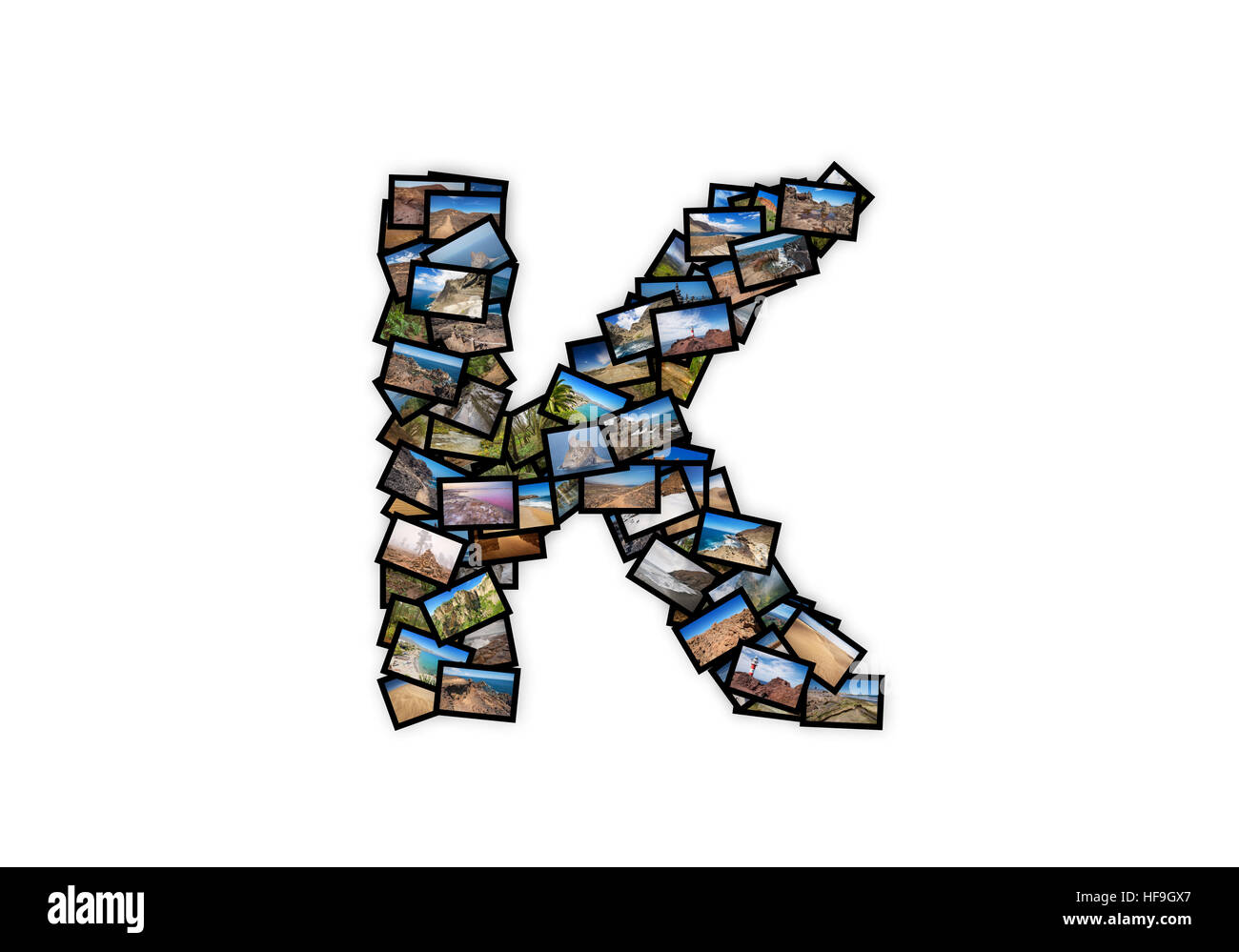 Letter K uppercase font shape alphabet collage made of my best landscape photographs. Version 2. - Stock Image