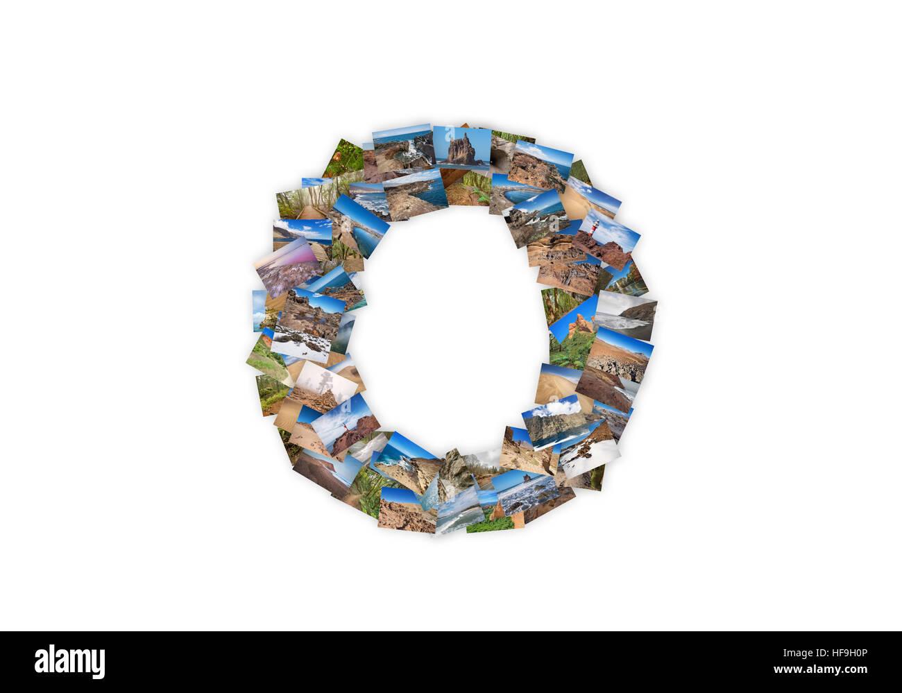 Letter O uppercase font shape alphabet collage made of my best landscape photographs. Version 3. - Stock Image