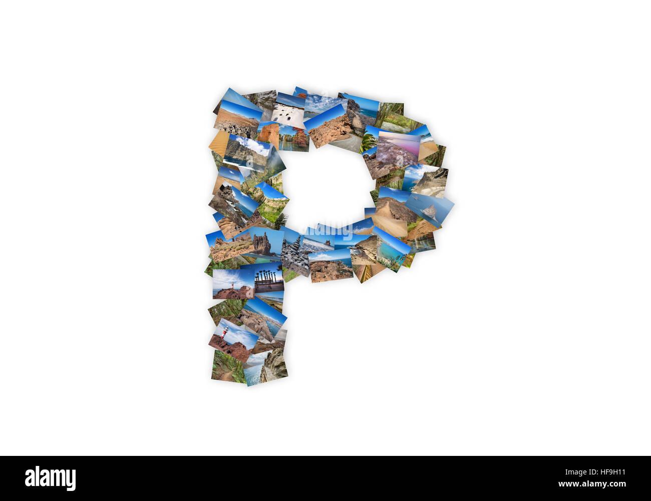 Letter P uppercase font shape alphabet collage made of my best landscape photographs. Version 3. - Stock Image
