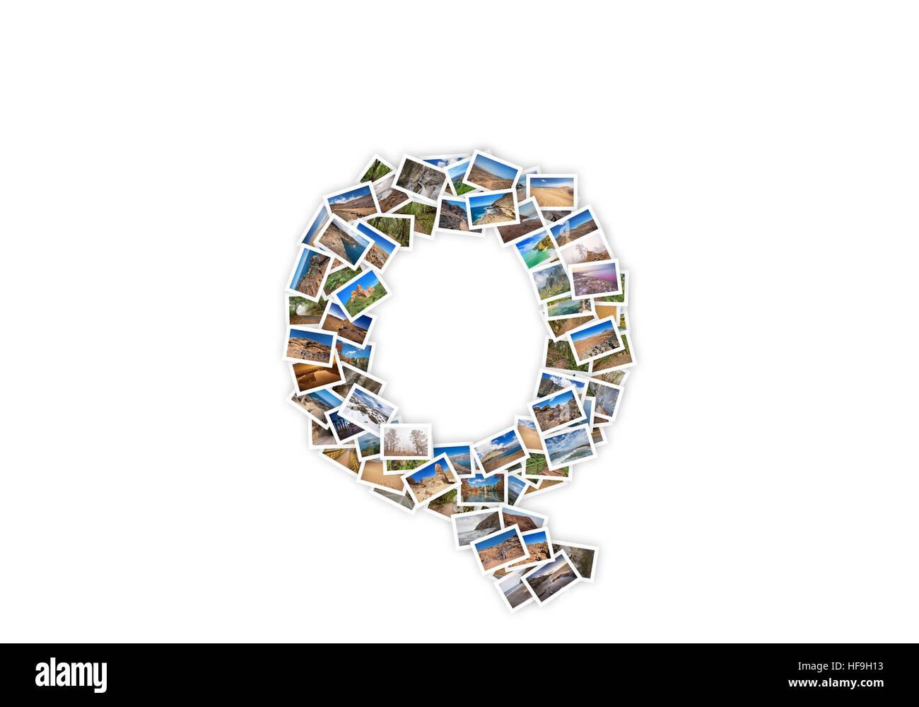 Letter Q uppercase font shape alphabet collage made of my best landscape photographs. Version 1. - Stock Image