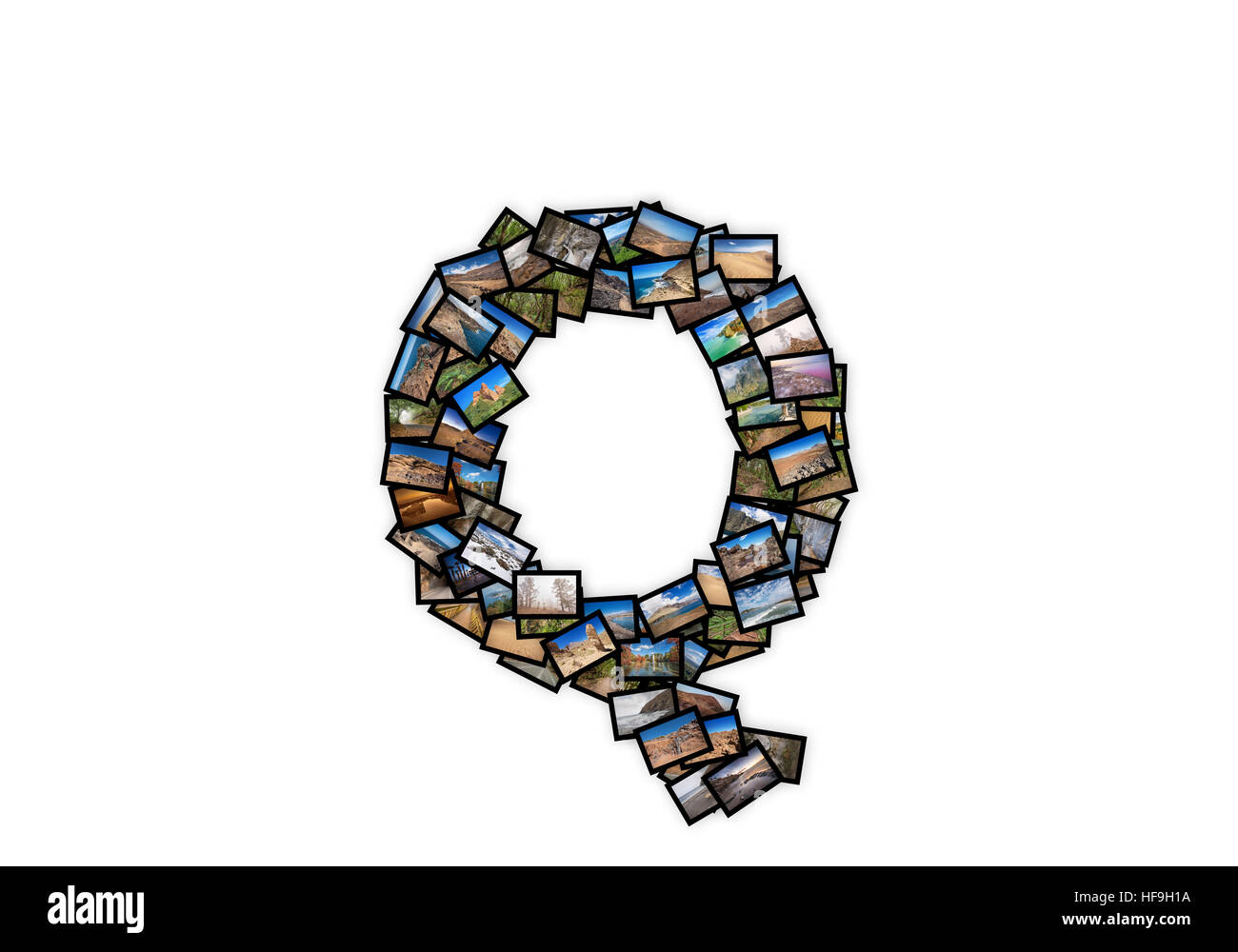 Letter Q uppercase font shape alphabet collage made of my best landscape photographs. Version 2. - Stock Image