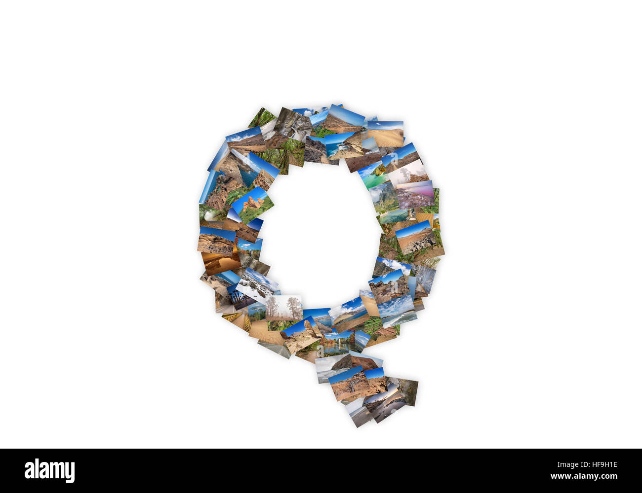 Letter Q uppercase font shape alphabet collage made of my best landscape photographs. Version 3. - Stock Image