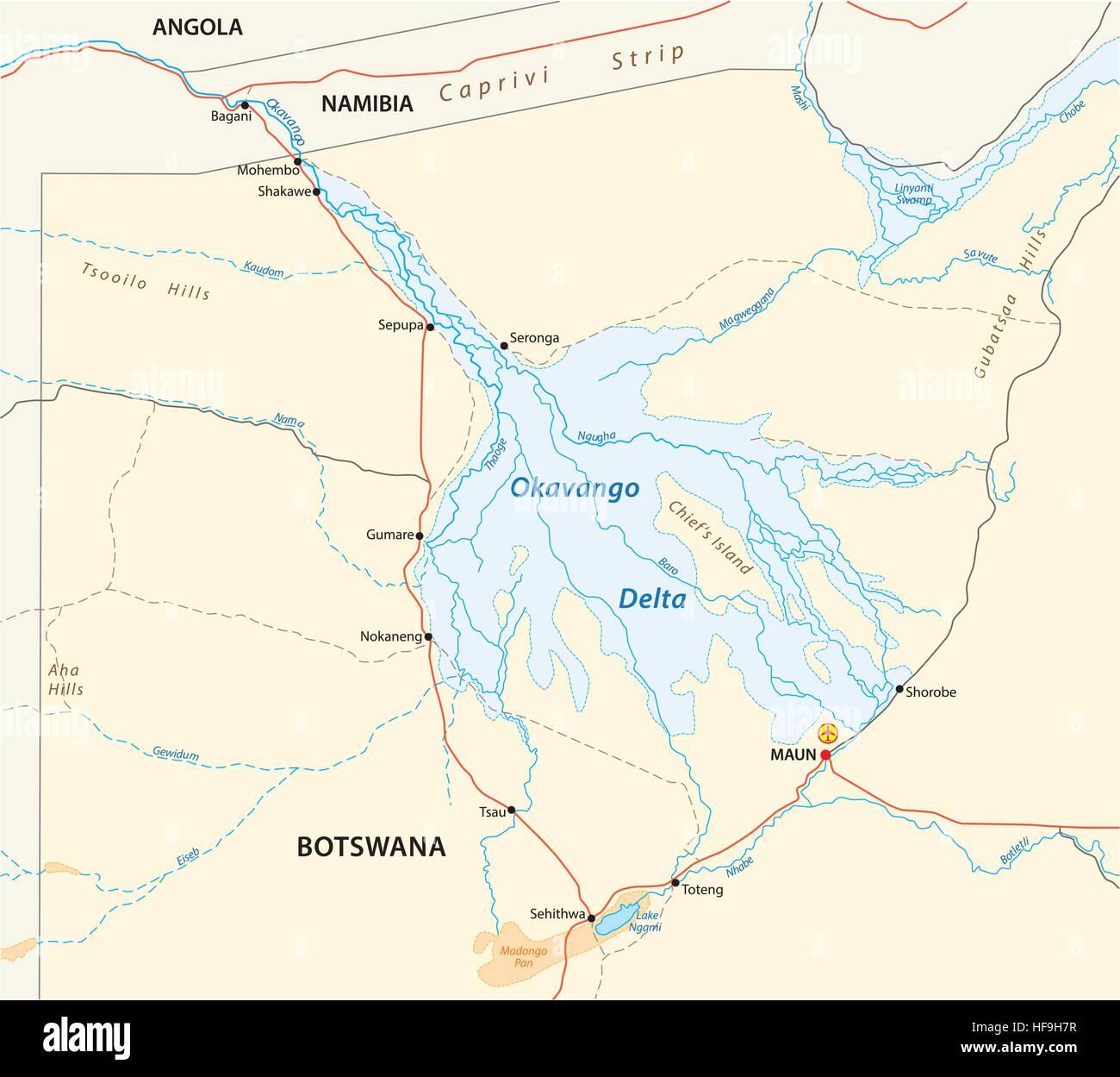 okavango delta map - Stock Vector