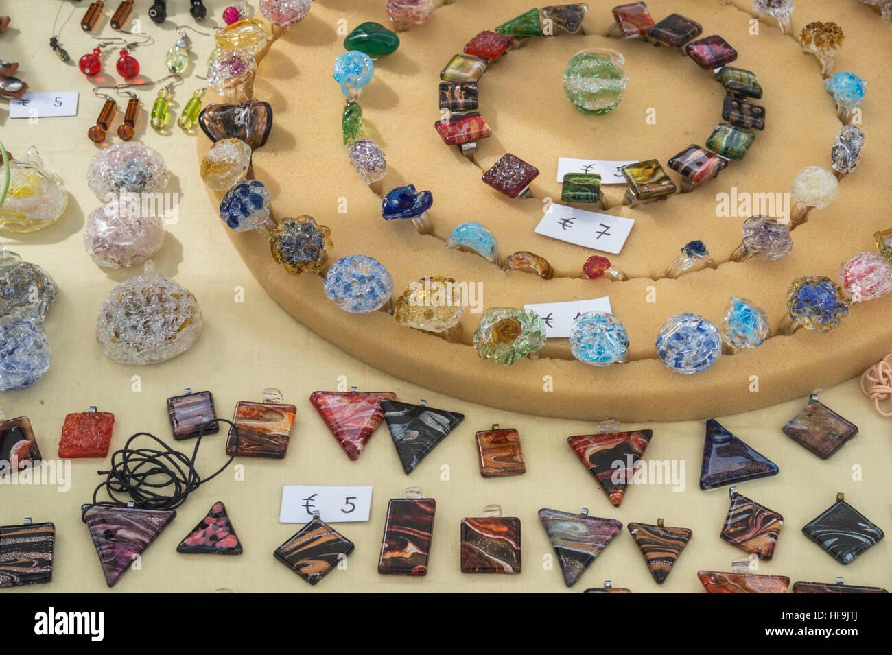 Glass jewelry, Palermo, Sicily, Italy, Europe, - Stock Image