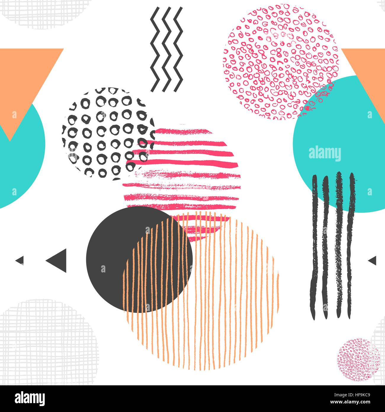 Geometric seamless pattern with circles, triangles and lines of different color, trendy abstract background. Vector Stock Vector