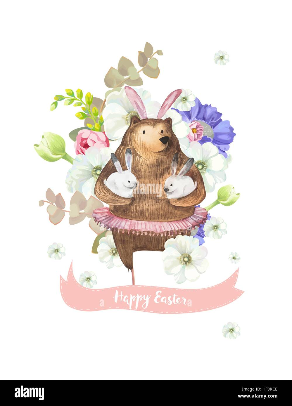 Happy easter greeting card with bunch of beautiful spring flowers on happy easter greeting card with bunch of beautiful spring flowers on background and funny bear in ballet tutu holding two little white rabbits m4hsunfo