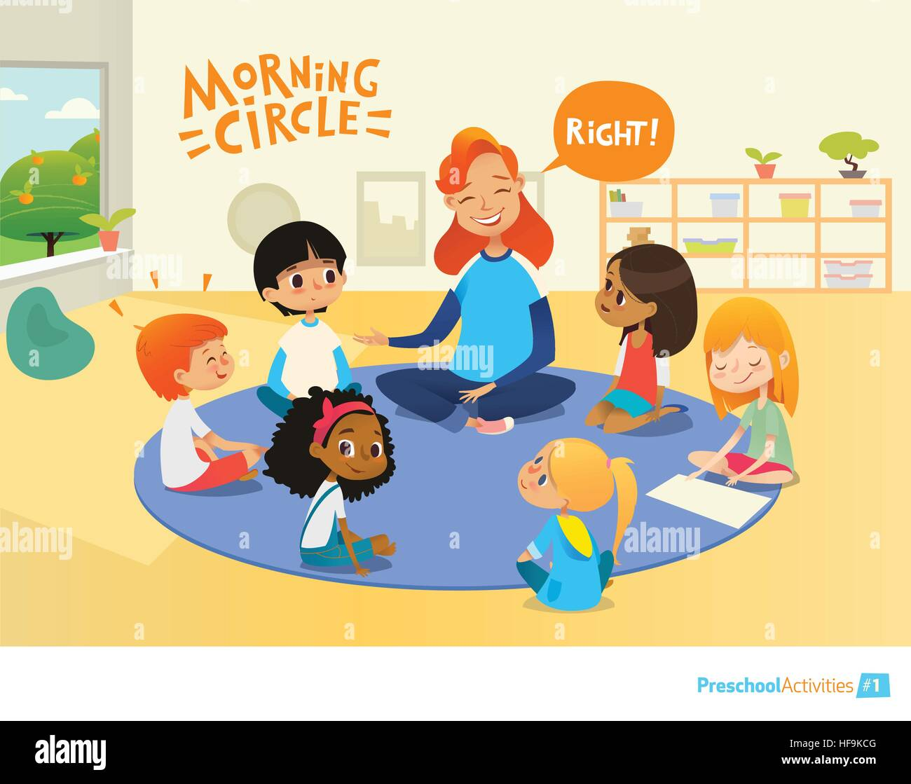 Teacher asks children questions and encourage them during morning lesson in preschool classroom. Circle-time. Pre - Stock Vector