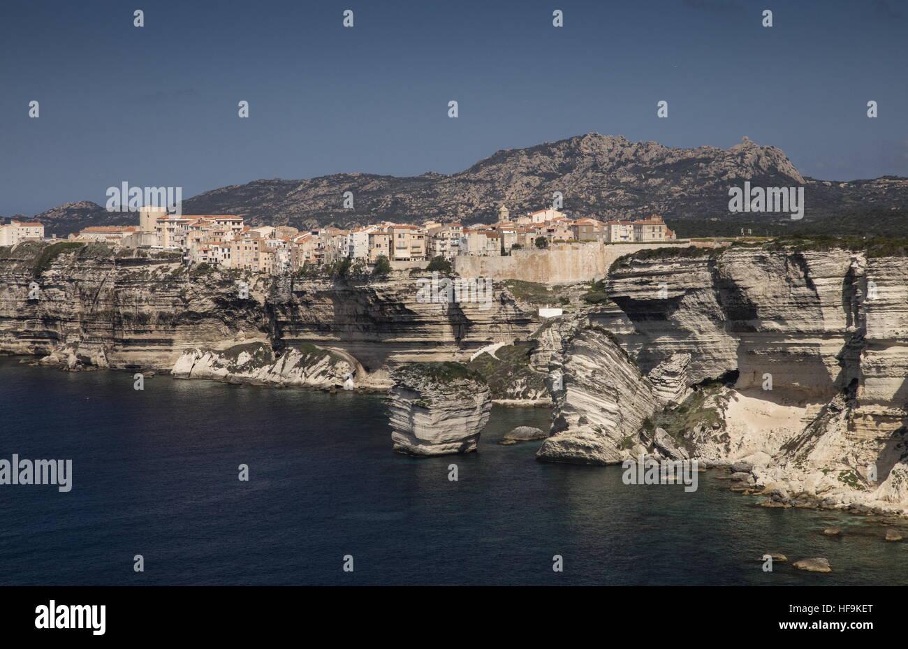 The old town of Bonifacio, on the Miocene Limestone cliffs, south Corsica - Stock Image
