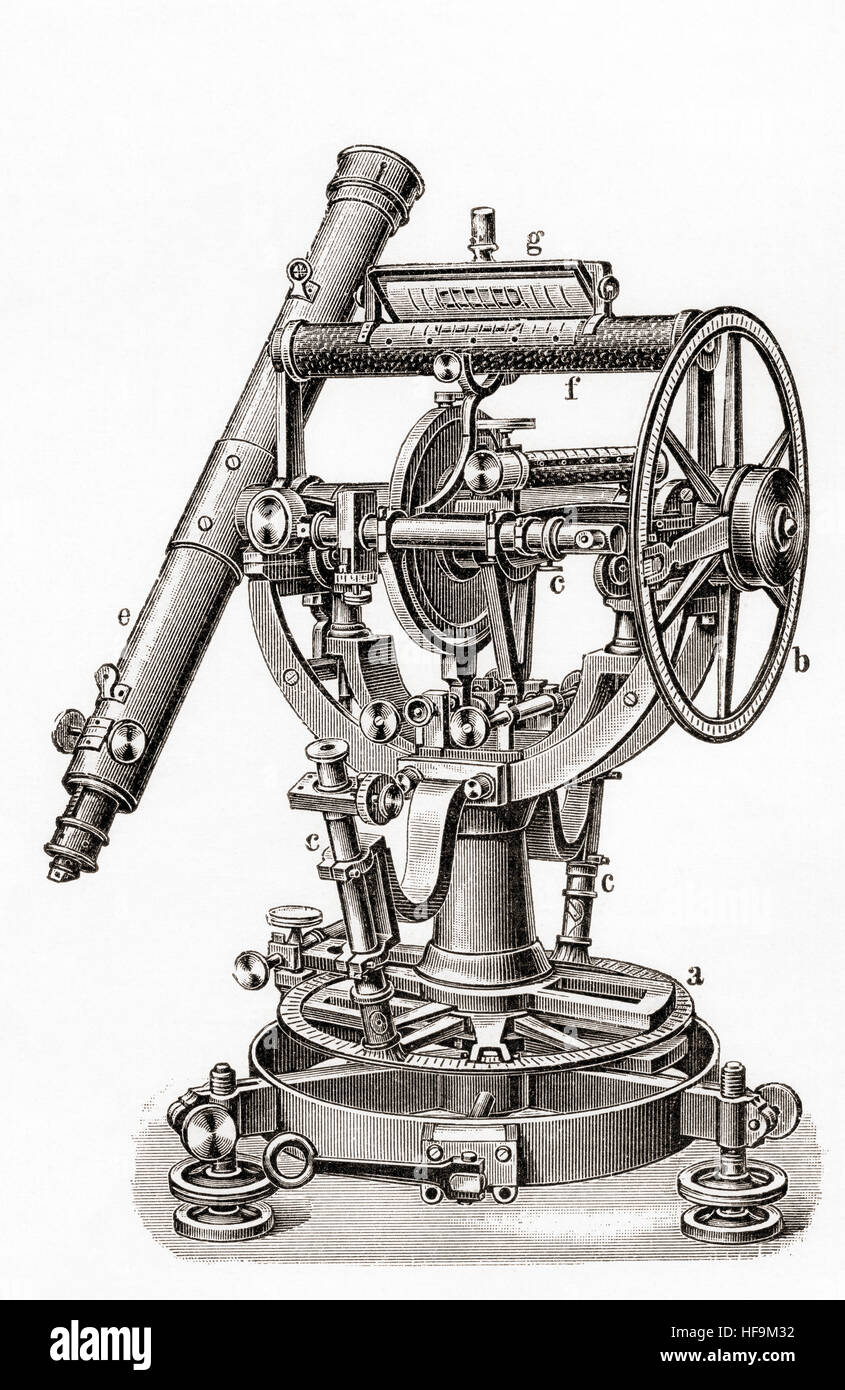 The all round theodolite produced by Franz Ludwig Tesdorpf (1856 -1905).   From Meyers Lexicon, published 1924. - Stock Image