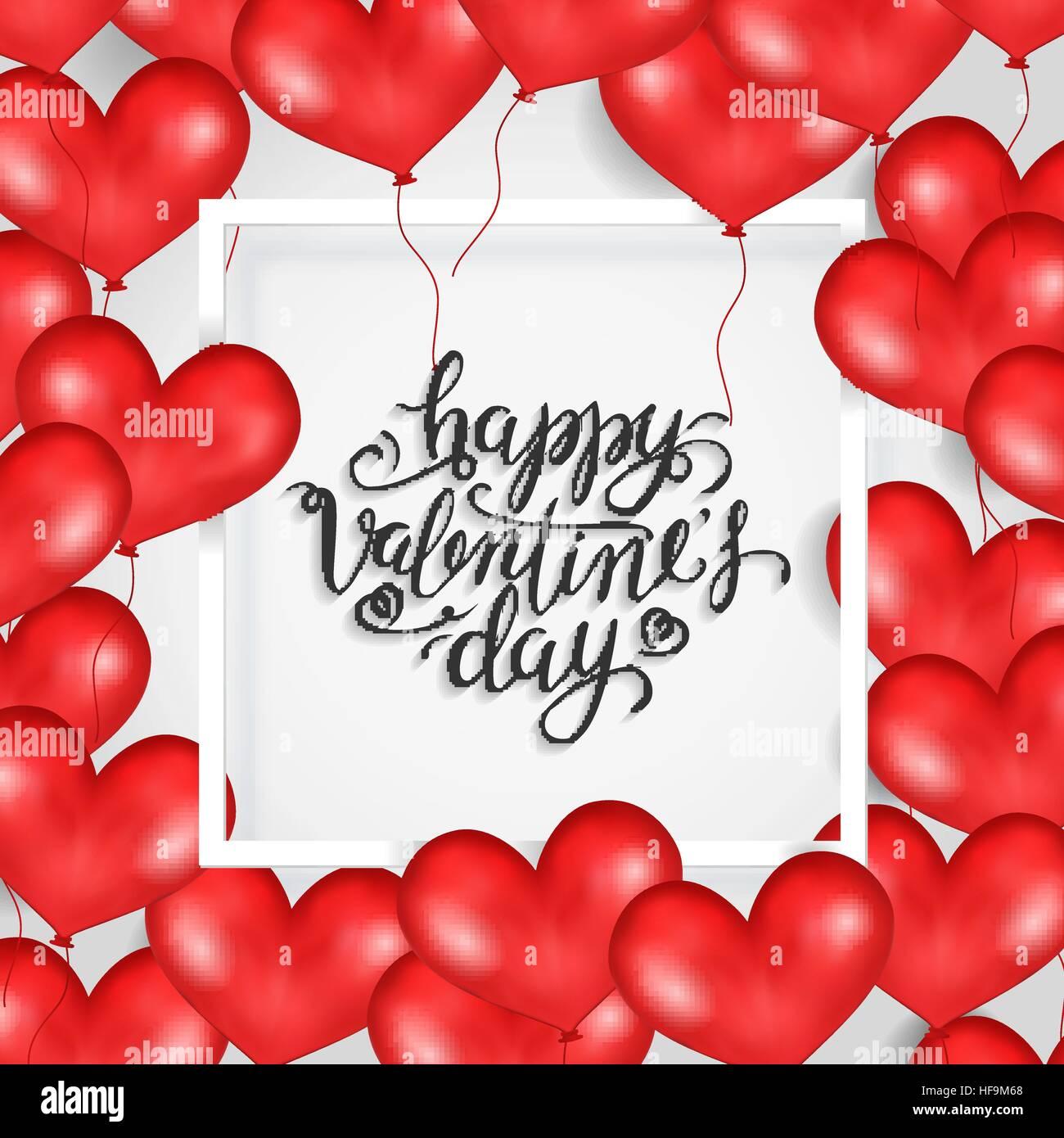 Happy Valentine s Day. White Frame, Red Heart Balloons. White Stock ...