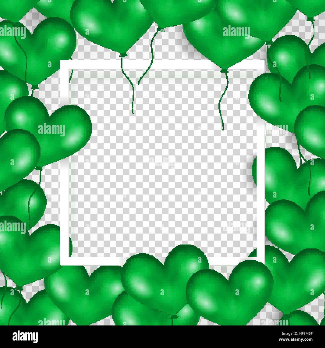 frame with green balloons in form of heart  transparent